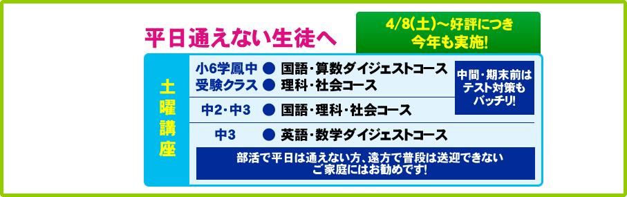 平日通えない生徒へ 4/8(土)~好評につき今年も実施!